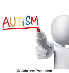 escrito, 3d, palavra, autism, homem