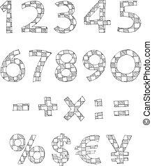 escrito, a cuadros, números, mano