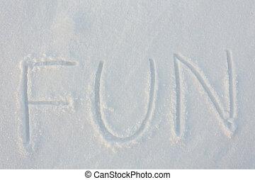 escrito, a, palavra, divertimento, em, neve