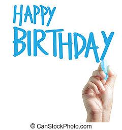 escrito, aniversário, mão, feliz