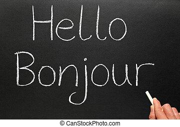 escrito, bonjour, blackboard., hola, francés