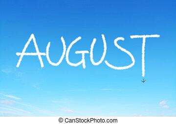 escrito, cielo, agosto