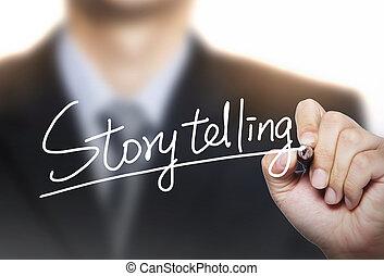 escrito, el storytelling, mano