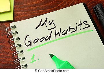 escrito, hábitos, bloc, mi, bueno