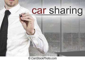 escrito homem negócios, car, compartilhar, ar