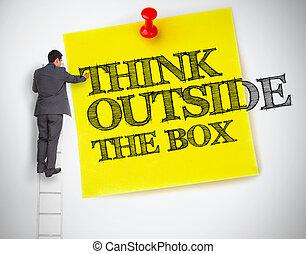 escrito homem negócios, pensar, exterior, caixa, ligado, um,...