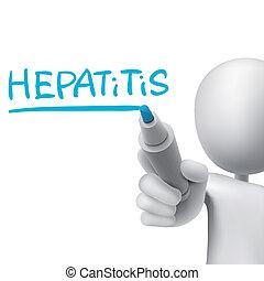 escrito, homem, palavra, hepatite, 3d