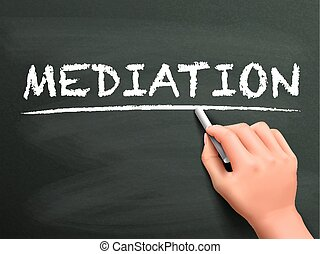 escrito, mediación, palabra, mano