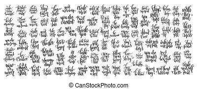 escrito, mega, mano, de motivación, conjunto, citas, letras, 100