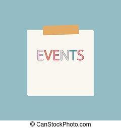 escrito, papel, eventos, caderno