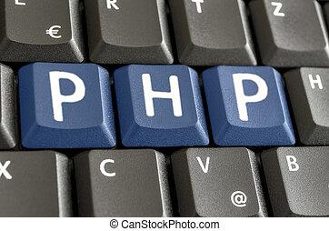 escrito, php, ordenador teclado