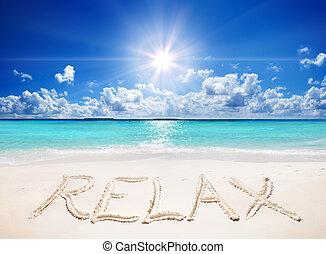 escrito, relaxe, ligado, areia, de, a, praia