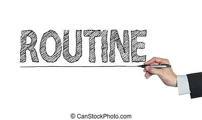 escrito, rutina, mano