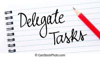 escrito, tareas, delegado, cuaderno, página
