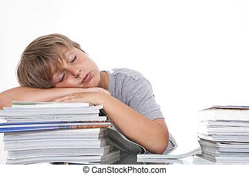 escritorio, blanco, aislado, estudiante, cansado
