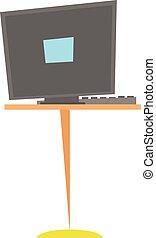 escritorio, computadora, lugar de trabajo, caricatura