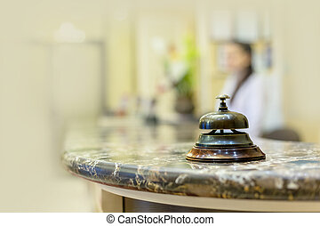 escritorio, con, campana