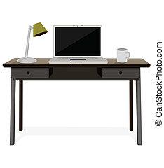 escritorio, con, computador portatil