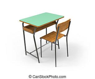 escritorio de la escuela, con, chair.