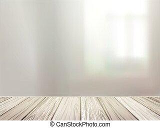 escritorio de madera, encima, confuso, interior, escena