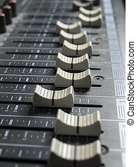 escritorio de mixing, faders