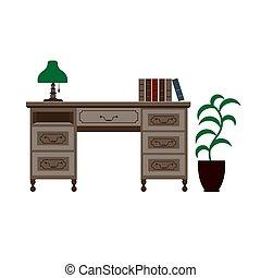escritorio de oficina, con, estantes, lámpara verde, y, libros, en