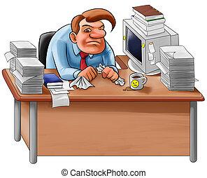 escritorio, en, un, lío
