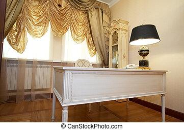 escritorio, horas, lámpara