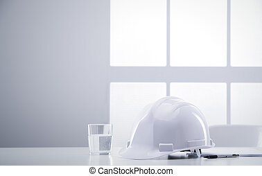 escritorio, ingeniero, con, hardhat