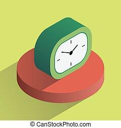 escritorio, isométrico, vector, colorido, reloj