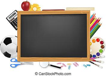 escritorio negro, con, escuela, supplies.