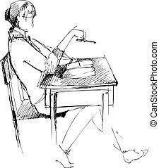 escritorio, niña, escuela, después