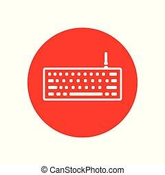 escritorio, oficina, teclado, contorno, diseño, rojo, ilustración, icono