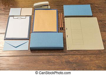 escritorio, preparado, para, trabajo