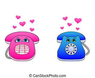 escritorio, teléfonos, enamoured