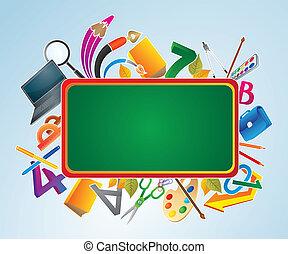 escritorio verde, con, escuela, supplies.