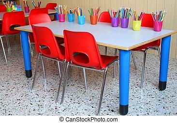 escritorios, pequeño, sillas, aula, rojo
