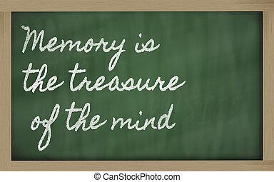 escritos, quadro-negro, mente, tesouro, -, memória, letra