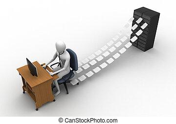 escriturário, escritório, trabalhando, 3d