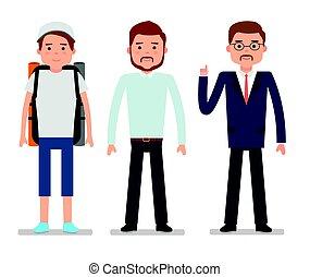 escriturário, jovem, experiência., businessman., viajante, branca