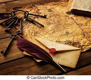 escritura, accesorios, ramo, viejo, llaves, y, libro, en,...