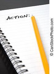 escritura, acción, en, un, spiral-bound, notebook.