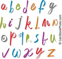 escritura, alfabeto, letters., vector, vector, fuente, ...