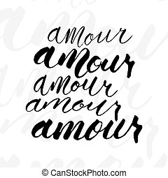 escritura, amour, word., variaciones, cinco