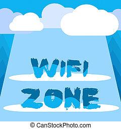 escritura, blanco, wifi, rectangular, red, actuación, highspeed, nubes, showcasing, zone., foto, mano, internet, conceptual, radio, sobre, conexiones, tabla, halftone, texto, proporcionar, empresa / negocio, space.