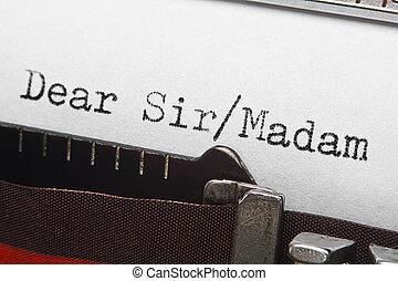 escritura carta, intro, texto, en, retro, máquina de...