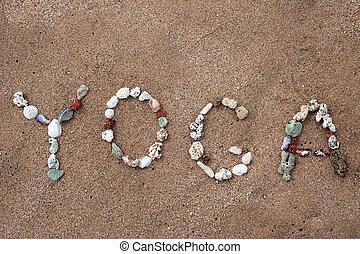 escritura, con, conchas, texto, yoga, en, playa
