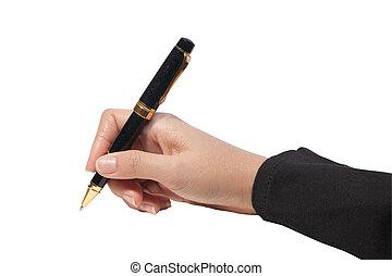 escritura, con, pluma