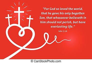 escritura, cruz, corazón, cristiano, plano de fondo, resumen, rojo