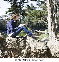 escritura de la mujer, en, diario